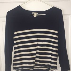 Forever 21 Navy Blue & Striped Top